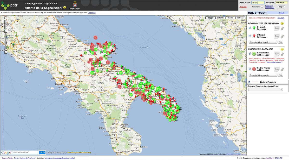 Map Of Italy Puglia Region.Landscape Planning Observatory Of The Puglia Region Italy